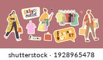 set stickers people in fashion... | Shutterstock .eps vector #1928965478