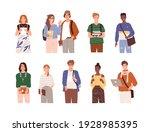 set of diverse modern students... | Shutterstock .eps vector #1928985395