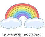 rainbow with clouds. a seven... | Shutterstock .eps vector #1929007052