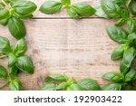 bunch fresh basil on a wooden...   Shutterstock . vector #192903422