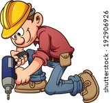 cartoon,character,construction,drilling,gradient,happy,hard,hat,illustration,isolated,kneeling,man,vector,white,worker