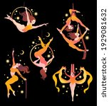 set with gymnasts on aerial... | Shutterstock .eps vector #1929081632