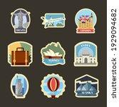 nine travel set monuments... | Shutterstock .eps vector #1929094682