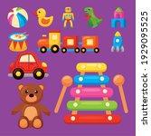 eleven kids toys set icons | Shutterstock .eps vector #1929095525
