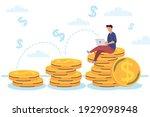 man using laptop in coins | Shutterstock .eps vector #1929098948