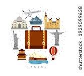 ten travel set stickers around | Shutterstock .eps vector #1929099638