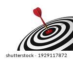 red dart hit to center of... | Shutterstock .eps vector #1929117872