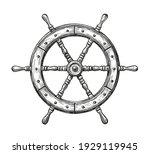 wooden ship wheel. sailing ... | Shutterstock .eps vector #1929119945