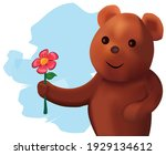 cute teddy bear with flower   Shutterstock .eps vector #1929134612