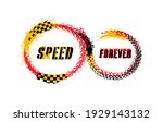 tire track circle grunge frame. ... | Shutterstock .eps vector #1929143132