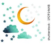 Moon And Stars Of Watercolor