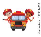 cute fire fighter boys riding...   Shutterstock .eps vector #1929146798