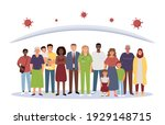 A crowd of diverse people under a dome that protects against the virus, a symbol of herd immunity. Flat vector illustration.