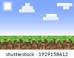 pixel minecraft style land... | Shutterstock .eps vector #1929158612