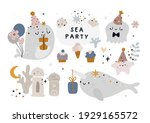 sea animals isolated on white ...   Shutterstock .eps vector #1929165572