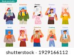 portraits on covers of books... | Shutterstock .eps vector #1929166112