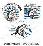 vintage red drum fish emblems.... | Shutterstock .eps vector #1929180332