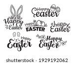 set of happy easter lettering.... | Shutterstock .eps vector #1929192062