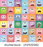 cartoon faces with emotions  | Shutterstock .eps vector #192920282