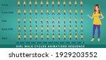 girl character walk cycle... | Shutterstock .eps vector #1929203552