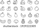 fruits and vegetable icons... | Shutterstock .eps vector #1929222305