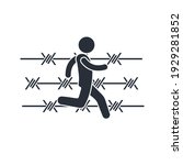 a man runs along a barbed wire... | Shutterstock .eps vector #1929281852