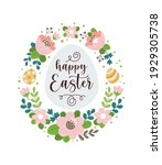 happy easter greeting card.... | Shutterstock .eps vector #1929305738