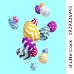 composition of 3d easter eggs.... | Shutterstock .eps vector #1929326945