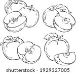 set illustration with apples... | Shutterstock .eps vector #1929327005