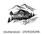 small hotel in mountains.... | Shutterstock .eps vector #1929334298