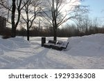 Wooden Snow Covered Benches ...