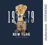 new york slogan with cute bear... | Shutterstock .eps vector #1929345542