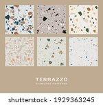 set of six terrazzo seamless... | Shutterstock .eps vector #1929363245