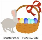 a hare with an easter basket...   Shutterstock .eps vector #1929367982