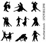 collection of pairs of dancers... | Shutterstock .eps vector #1929381398