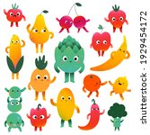 cute vegetables and fruit...   Shutterstock .eps vector #1929454172