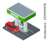 isometric biofuel. green bright ... | Shutterstock .eps vector #1929493478