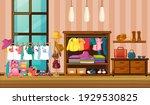 children clothes hanging in... | Shutterstock .eps vector #1929530825