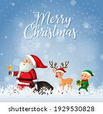 merry christmas font with santa ...   Shutterstock .eps vector #1929530828