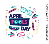 april fools day card with white ...   Shutterstock .eps vector #1929543698