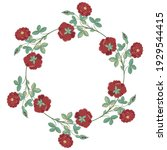round floral frame. wreath of... | Shutterstock .eps vector #1929544415