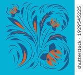ethnic folk flowers.... | Shutterstock .eps vector #1929545225
