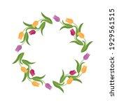 round flower frame made of... | Shutterstock .eps vector #1929561515