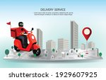 delivery man drive motorcycle... | Shutterstock .eps vector #1929607925