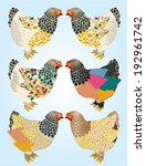 colorful chickens poster. | Shutterstock .eps vector #192961742
