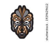 color tattoo mask in maori or... | Shutterstock .eps vector #1929629612