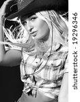 nice girl in a cowboy's hat...   Shutterstock . vector #19296346