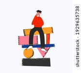 ethnic business man sitting on...   Shutterstock .eps vector #1929635738