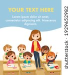 teacher and pupils   kids in...   Shutterstock .eps vector #1929652982