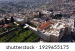 Aerial view over Church of the Nativity And City Square Of Bethlehem , Morning shot from Bethlehem, the town where Jesus was born. Place of The Church of the Nativity